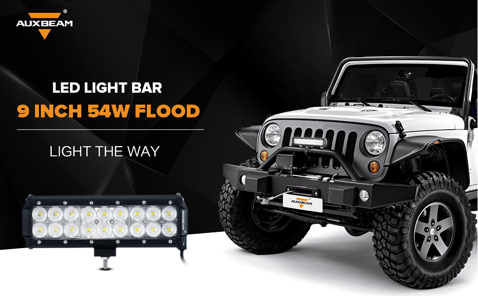 Amazon auxbeam led light bar 9inch 54w led light pod off road auxbeam 9 inch 54w flood led light bar mozeypictures Choice Image