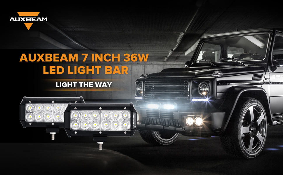Amazon auxbeam 7 led light bar 36w spot off road driving light auxbeam 7 inch cree led light bar 2 pcs aloadofball Images