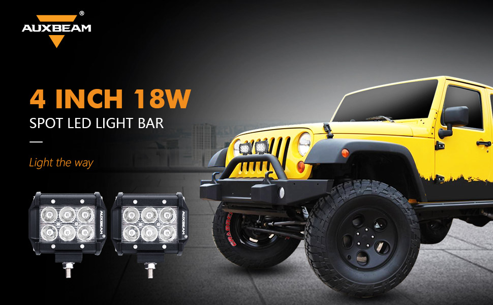 Amazon auxbeam led light bar 4 inch led pods 18w cree led auxbeam 4 inch 18w spot led light bar uses world famous cree chips and 30 degree spot beam design bright and concentrated to light up the road while aloadofball Gallery