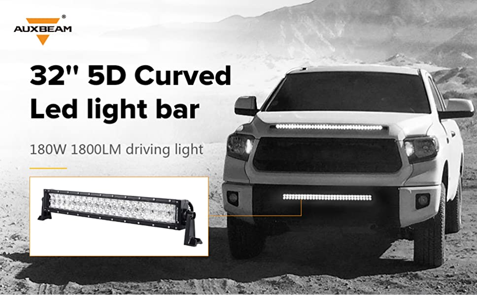 Amazon auxbeam 32 180w curved led light bar 5d lens 18000lm auxbeam 32 led light bar 5d lens cree driving light curved aloadofball Images