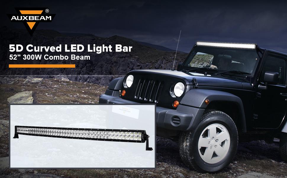 Amazon auxbeam led light bar 52 300w led work light off road auxbeam 52 led light bar 300w 5d lens curved off road light mozeypictures Choice Image