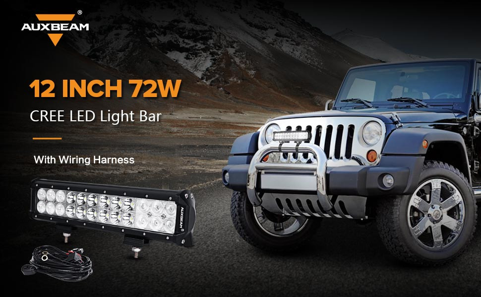 vBYDcp0aRKyr._UX970_TTW__ amazon com auxbeam 12 inch led light bar 72w 7200lm light bar 12 inch led light bar with wiring harness at gsmx.co