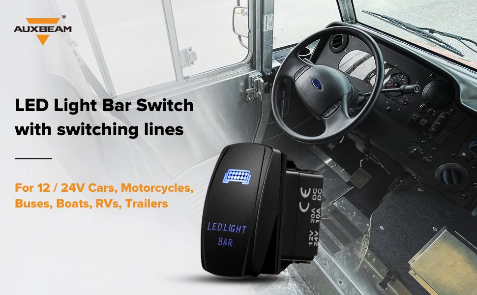 Amazon.com: Auxbeam LED Light Bar Rocker Switch with Switching lines ...