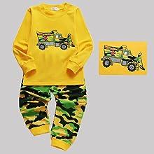 EULLA Toddler Boys Cotton Pajama Set Cartoon Car Excavator Print Sleepwear Pjs