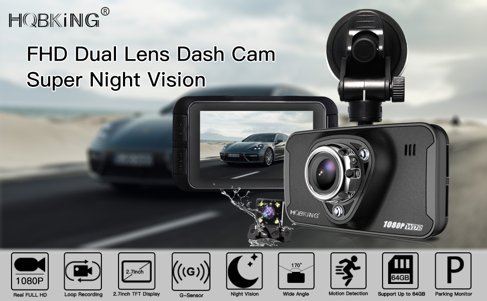 Aquarius FHD 1080P en el tablero de auto DVR mini cámara grabadora de video de visión nocturna frontal