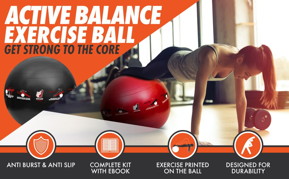 Amazon.com: epitomie fitness active balance fitness ball with