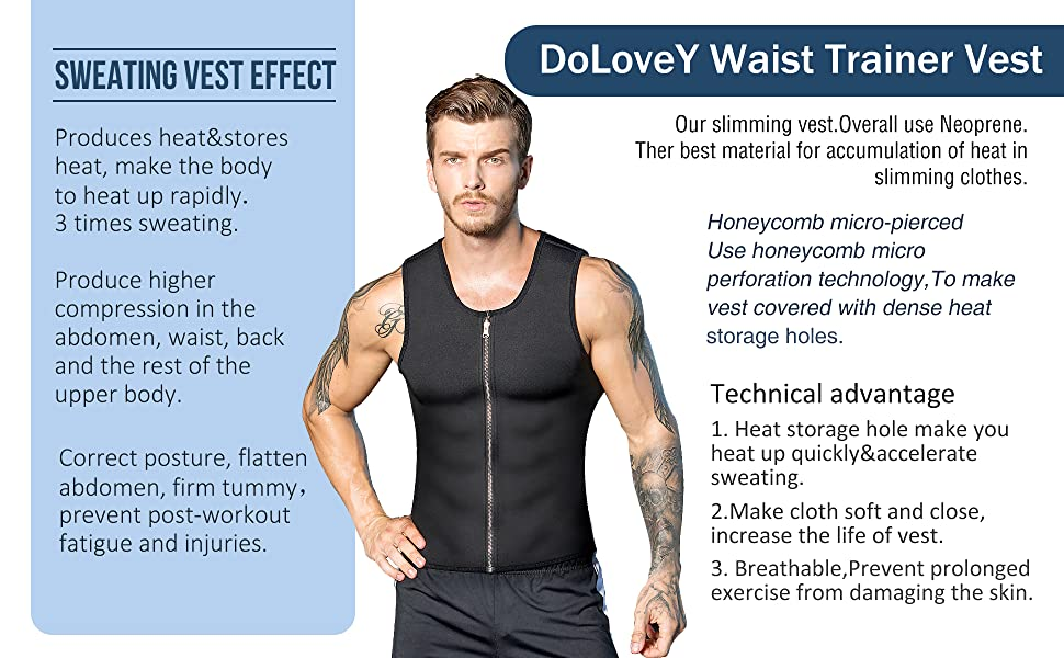 aa41fc1ccf1be Men s Hot Sweat vest neoprene sauna Shirt Waist Trainer Corset Sweat Tank  Top for Workout Weight Loss Tummy Fat Burner Body Shaper