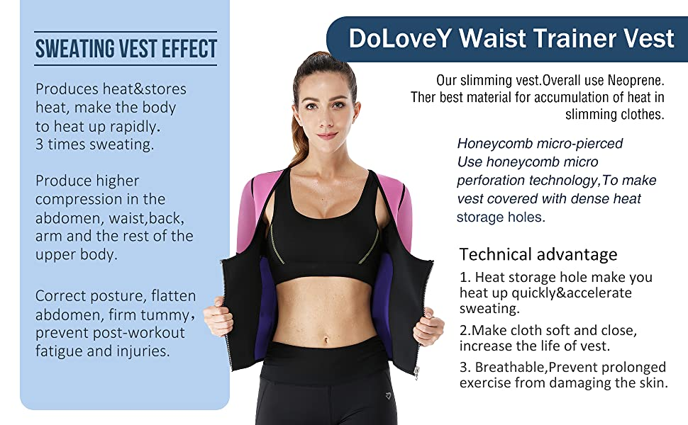 Neoprene Slimming Vest with Sleeves Exercise Workout Waist Trainer Corset Top Sauna