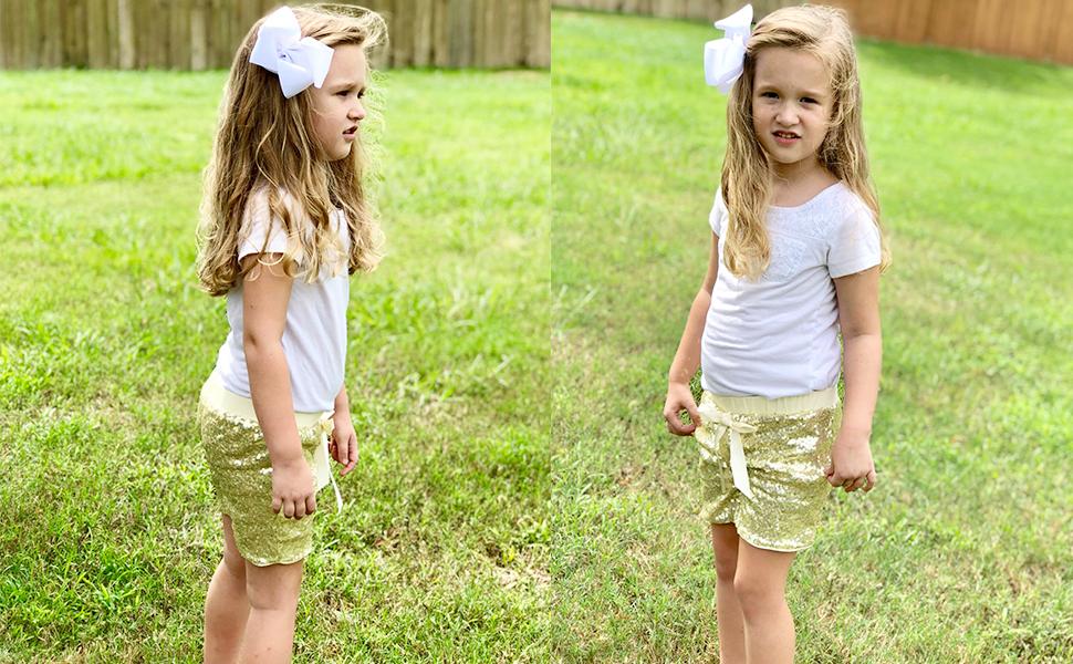 Cilucu baby girls gold sequin shorts