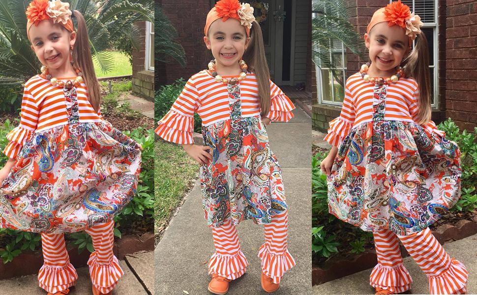 f4069f12 Amazon.com: Cilucu Girls Clothes Toddler Outfits Kids Ruffle Pants ...