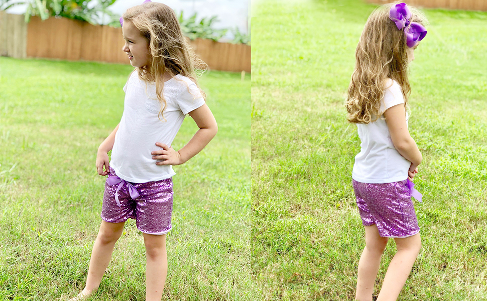 Cilucu sequin shorts for toddler girls kids purple