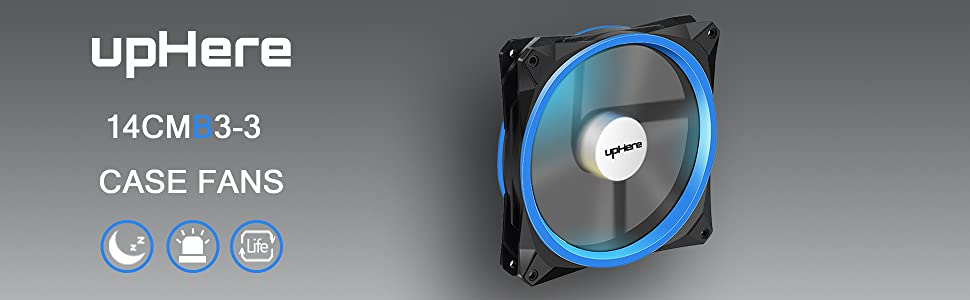 14CMB3-3 upHere 140mm LED Case Fan for Computer Cases PC Cooling Fan Ultra Quiet High Airflow Blue 3 Pack