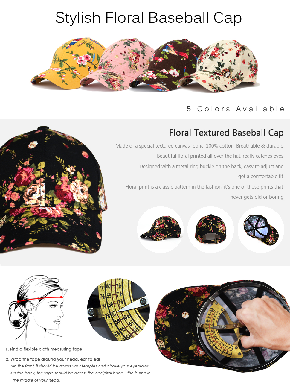 9459f8ea1be JOOWEN Floral Print Baseball Cap Adjustable 104% Cotton Canvas Dad ...