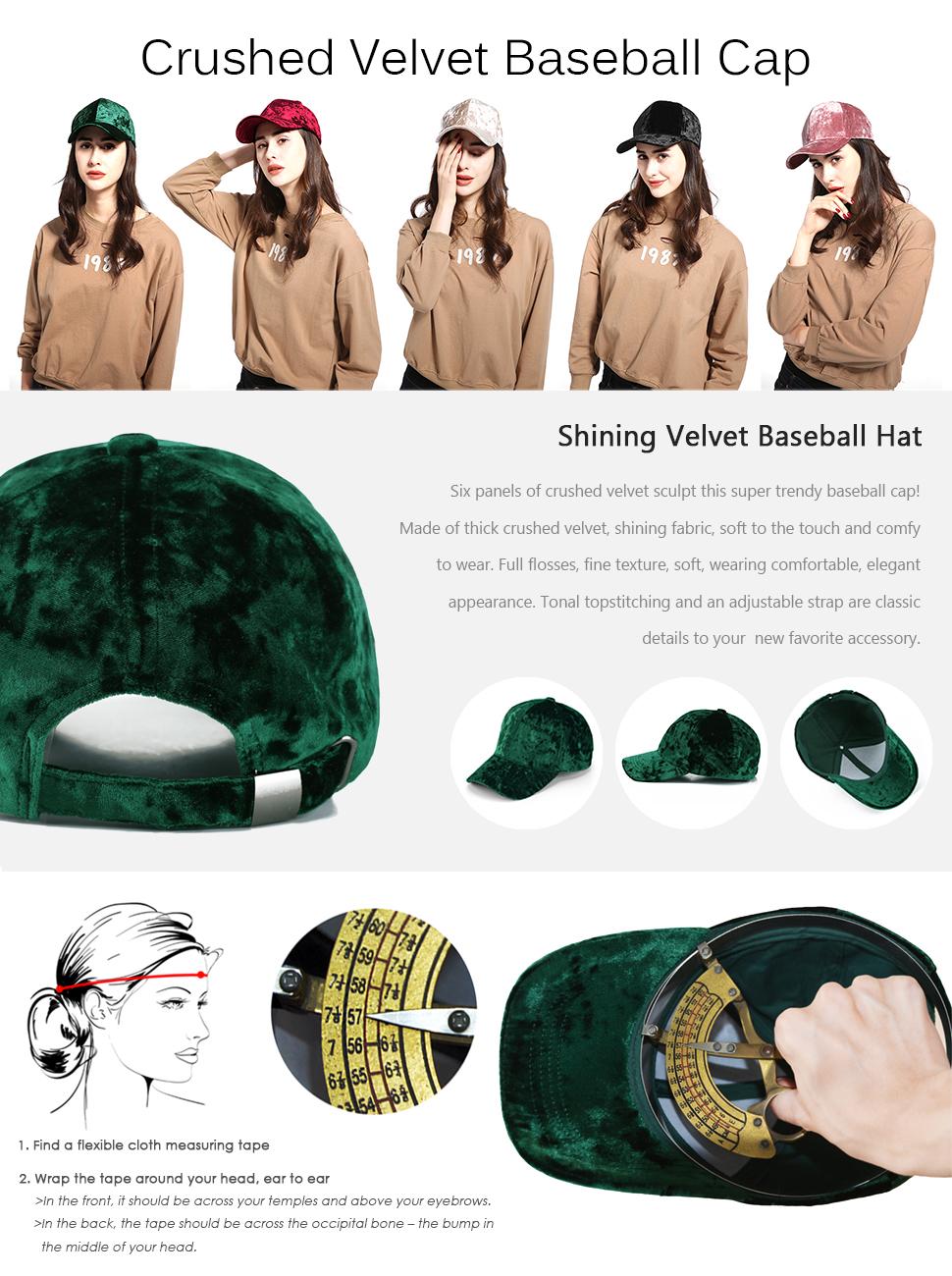 bc4e5cc7782c8 JOOWEN Unisex Crushed Velvet Basketball Hat Adjustable Soft Shining ...