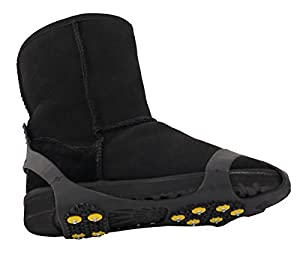 WAYPOR Ice Grips, Traction Cleats, Ice Cleat, Easy Slip On, Outdoor Durable, 10 Steel Studs, Stretchable, Prevent Slipping from Ice/Snow, Extra Studs Included in Each Package. 20