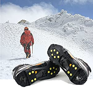 WAYPOR Ice Grips, Traction Cleats, Ice Cleat, Easy Slip On, Outdoor Durable, 10 Steel Studs, Stretchable, Prevent Slipping from Ice/Snow, Extra Studs Included in Each Package. 12