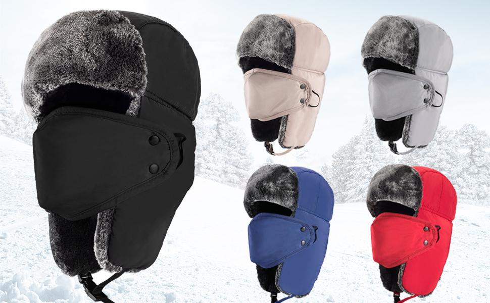 Amazon.com   Mysuntown Unisex Winter Trooper Hat Hunting Hat Ushanka ... ef8898cecbf5