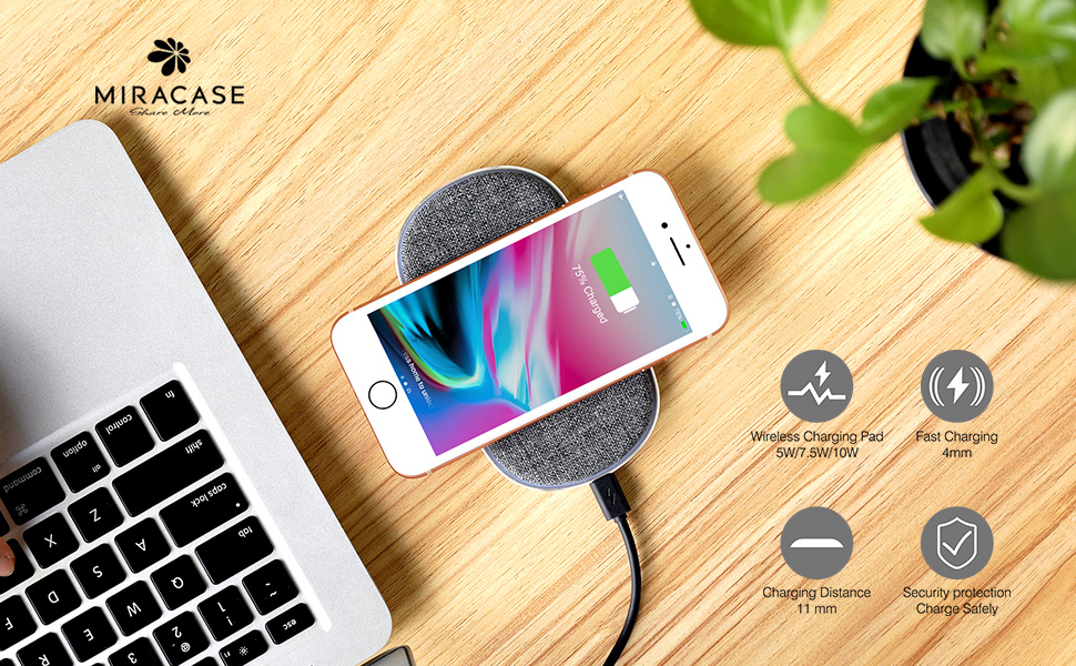 huge selection of d99ee 5464e Miracase Wireless Charger, Qi Certified Fast Charging Pad, Wireless Phone  Charger 10W for Samsung Galaxy S8 Plus/S8/Galaxy S7/S7 Edge, 7.5W for  iPhone ...