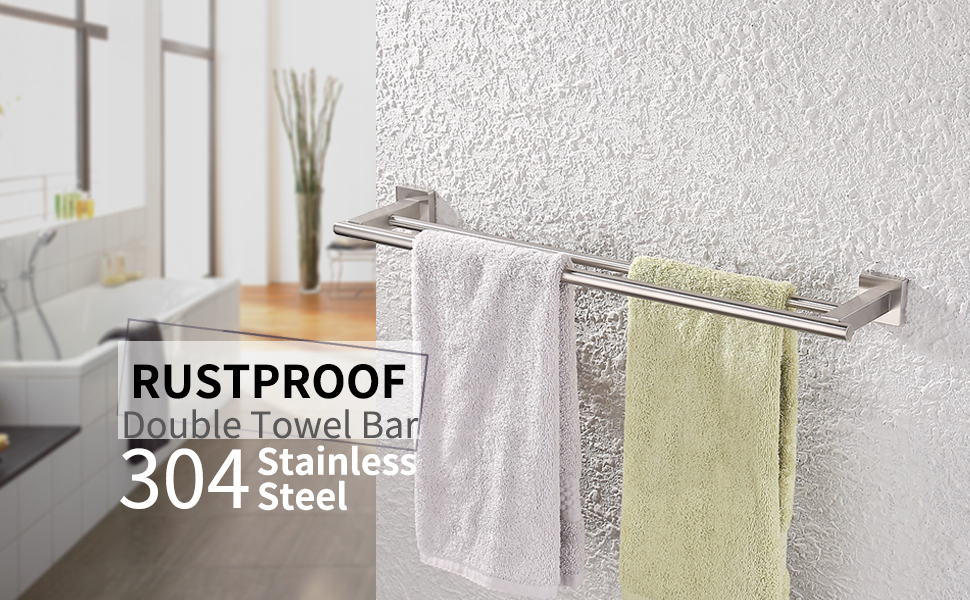 Kes Towel Bar Towel Holder With Double Rod 23 Inch Brushed