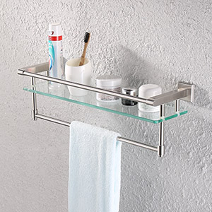 Amazoncom KES Glass Shelf Bathroom Shelf Towel Rack Single Bar