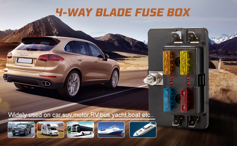 car fuse box blown amazon com bunker indust 4 way blade fuse box with led indicator  bunker indust 4 way blade fuse box