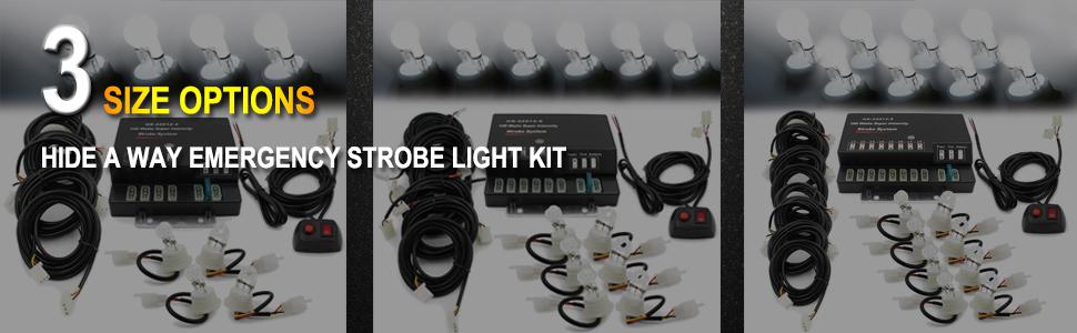8 HID Bulbs FOXCID Hide A Way 160 Watt HID Emergency Hazard Warning Headlight Strobe Light Kit System For Vehicle Truck