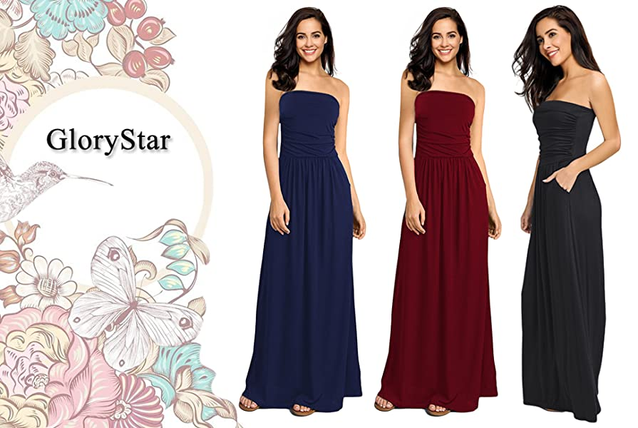 ddac340deef4d GloryStar Womens Strapless Ruched Casual Party Maxi Dress With Pocket