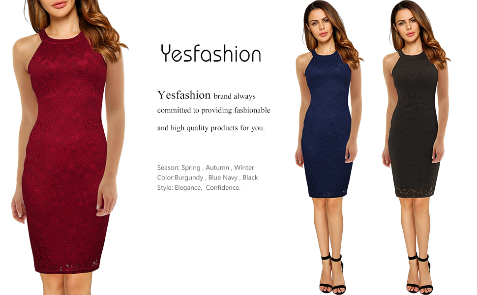 2d17b5c44e1 Yesfashion Women s Cocktail Dress Halter Neck Lace Dresses for Special.  Yesfashion halter lace bodycon cocktail dress
