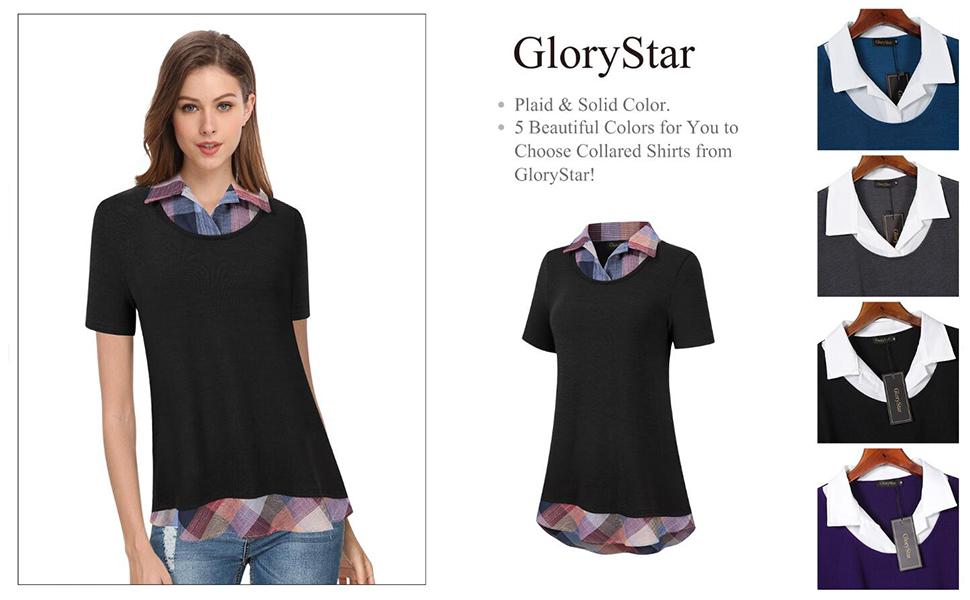 d4112a45 GloryStar Women's Long Sleeve Contrast Collared Shirts Patchwork Work Blouse  Tunics Tops. 55