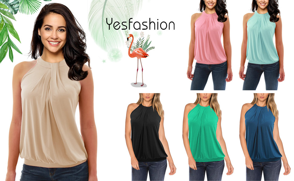 dc24a3a44bcc27 Yesfashion Women Sleeveless Halter Twisted Pleated Tank Top Blouse ...
