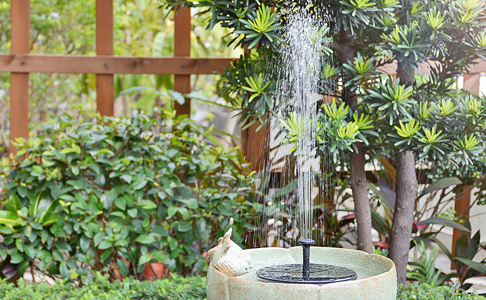solar fountain in birdbath