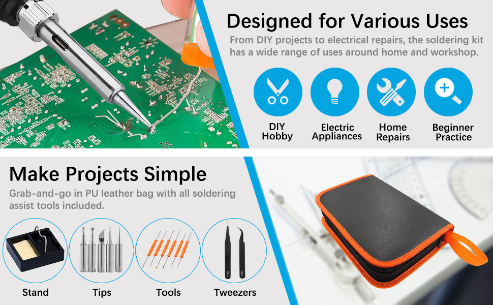 Sywon Full Set 60W 110V Electric Soldering Iron Kit with Adjustable ...