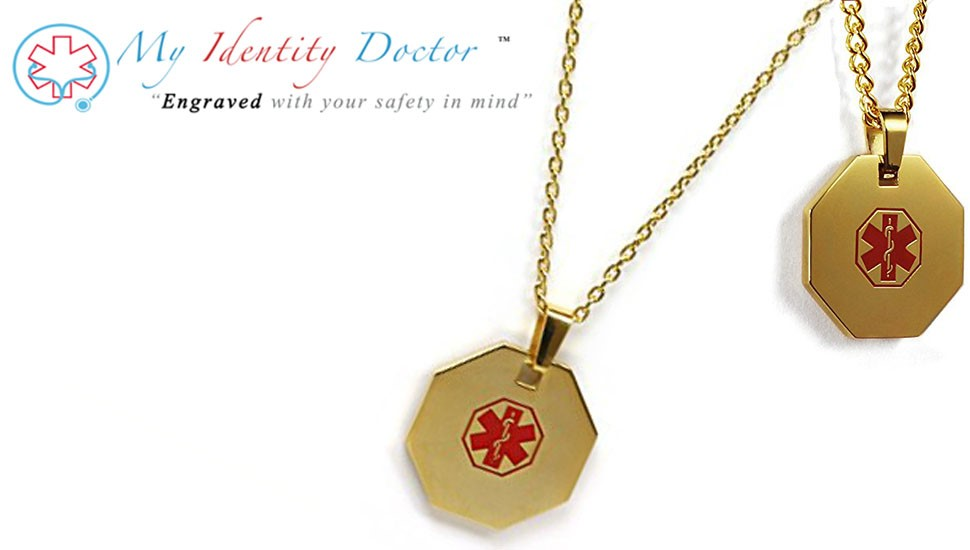 My identity doctor usa custom engraved medical id necklace with free medical emergencies can happen anytime and anywhere all of your vital medical and contact information is custom engraved on your medical id necklace mozeypictures Image collections
