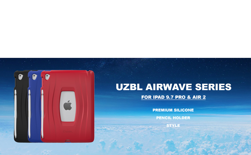 uzbl silicone rubber pencil holder air 2 pro 9.7 cover gen generation skin A1566 A1567 grippy A1673
