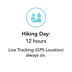Hiking Day Battery 12 hours Live tracking On