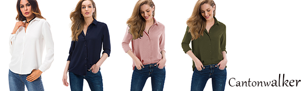 30ea5d23d Cantonwalker Women's Long Sleeve Shirt Loose Casual Professional Button  Blouse for Women 5005