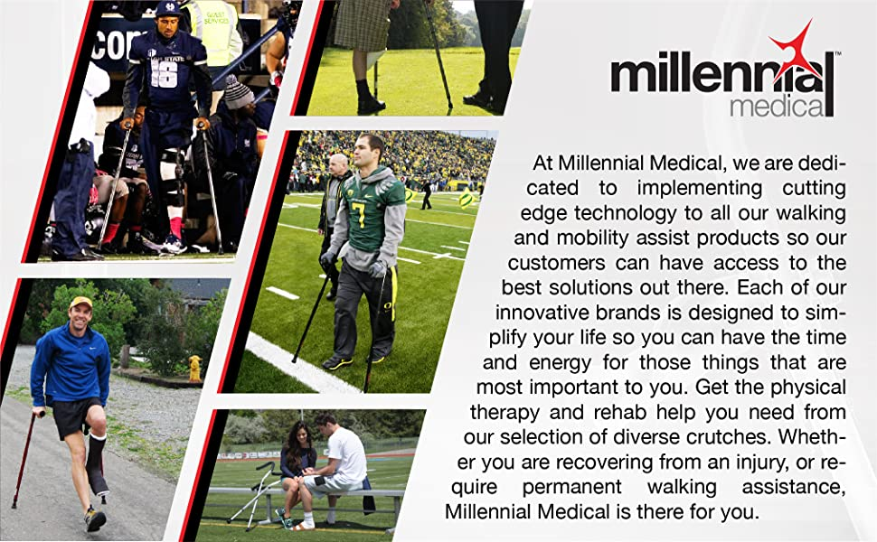 Collage of professional football players, golfers, runners and high school students using crutches