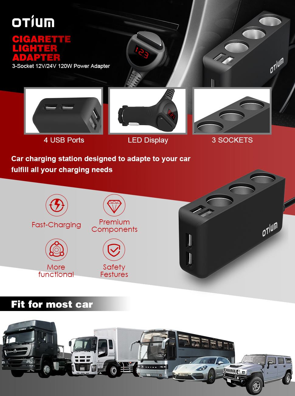 Otium Car Charger Adapter 3 Socket Cigarette Lighter Low Power Negative Supply Product Description