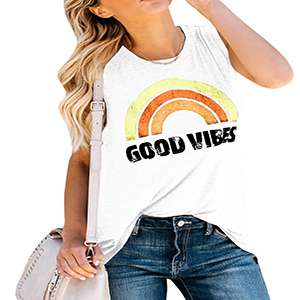 4de691e6a47865 Womens Good Vibes Tank Tops Loose fit Graphic Tees Rainbow Crew Neck  Sleeveless T Shirts