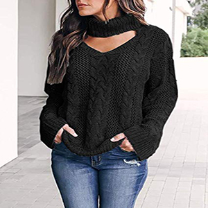 e841d60e3bc Womens Plus Size Turtleneck Sweaters Sexy Loose Choker Cable Knit ...