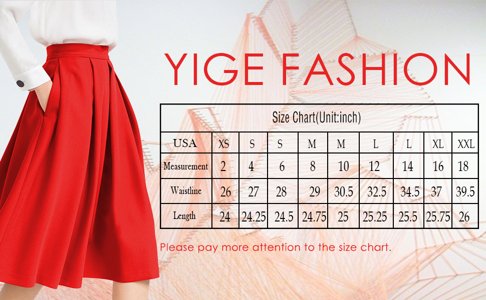 Yige Women's High Waist Flared Skirt Pleated Midi Skirt