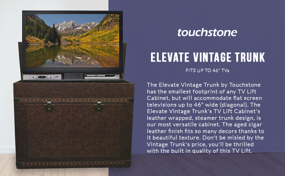 Touchstone 72007 elevate vintage trunk tv lift for Touchstone promotional products