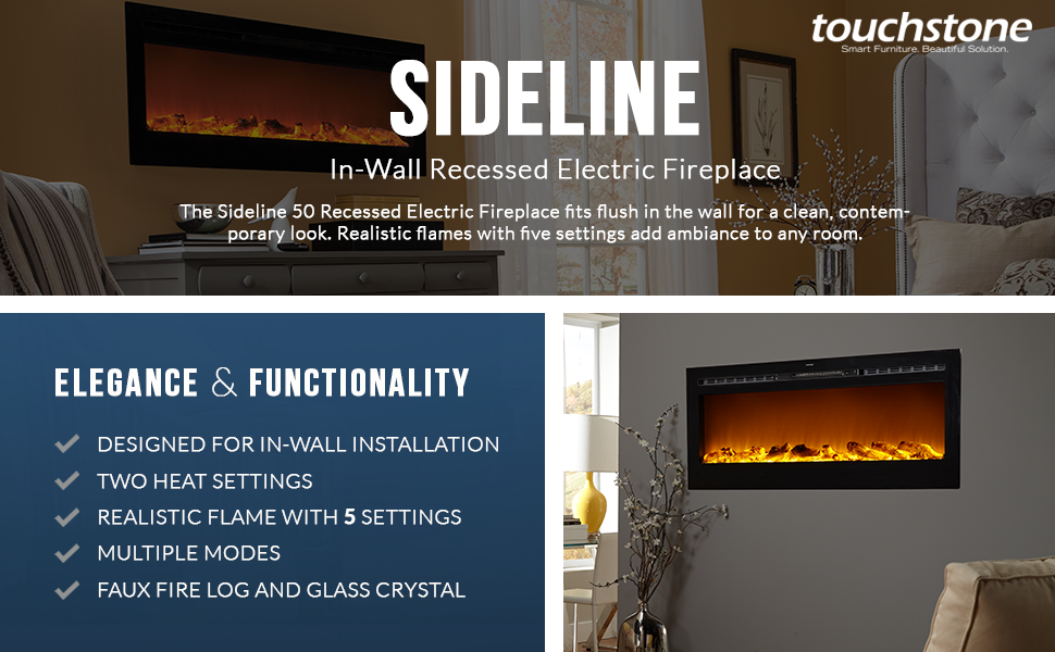 recessed tv touchstone stand synergy corner linear electric inch flame inches wide mount fireplace wall