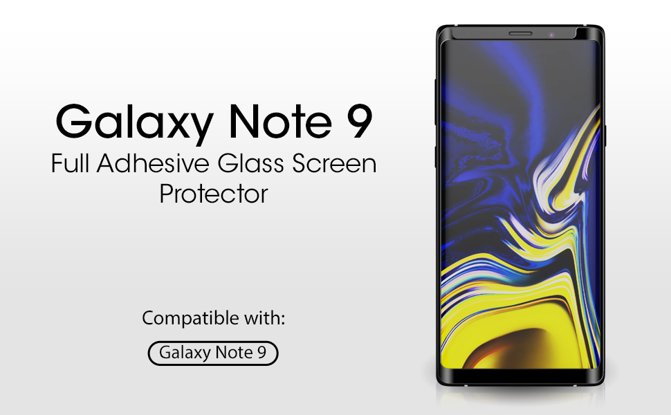 amFilm Glass Screen Protector for Samsung Galaxy Note 9, Full Screen Coverage Screen Protector, 3D Curved Tempered Glass, Dot Matrix with Easy ...