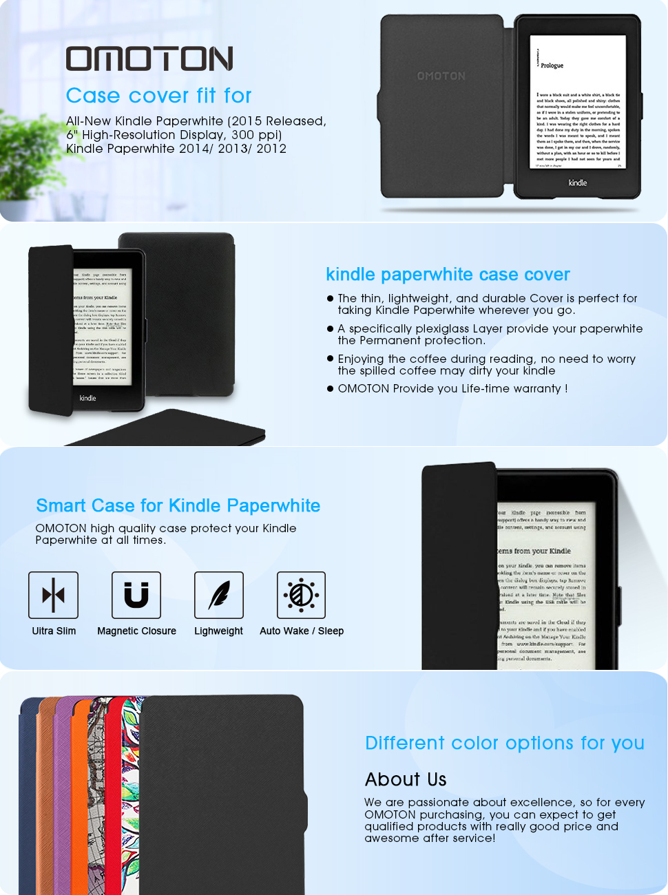 OMOTON Kindle Paperwhite Case Cover - The Thinnest Lightest PU Leather  Smart Cover Kindle Paperwhite fits All Paperwhite Generations Prior to 2018