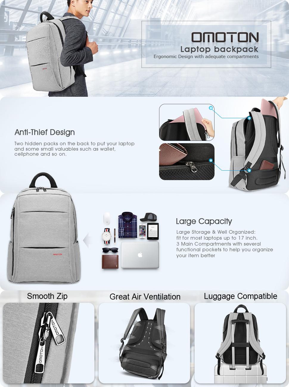 Amazon.com: OMOTON Laptop Backpack with Anti-theft Compartment ...