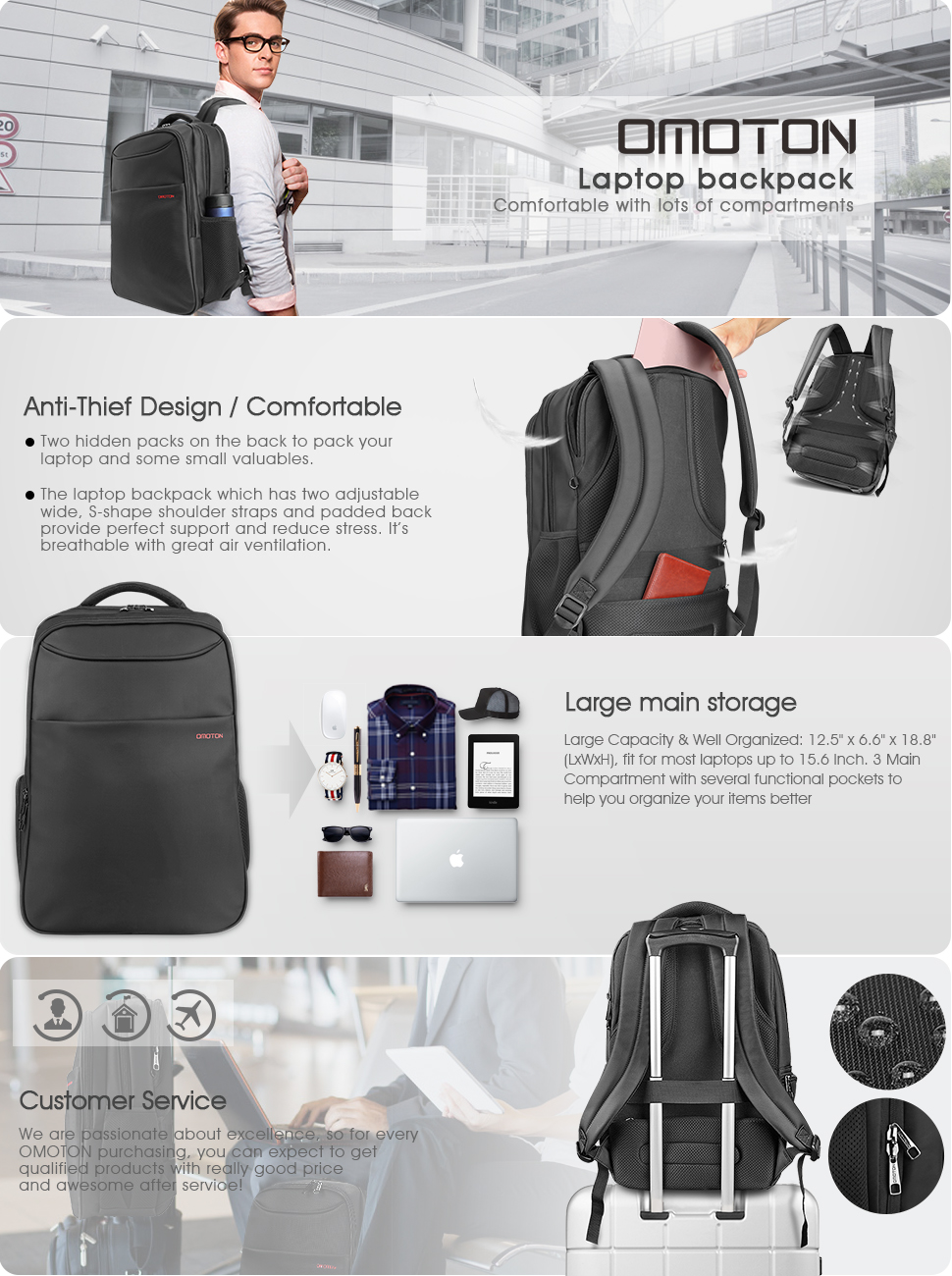 Amazon.com: OMOTON Business Laptop Backpack - Anti-theft Water ...