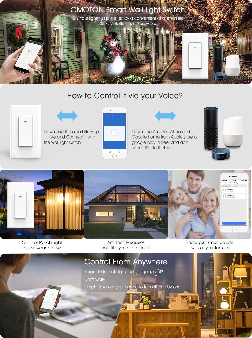 Wi Fi Smart Wall Light Switch 1 Pack Omoton Wireless