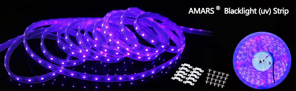 AMARS 5M//16.4FT 300leds Blacklight Fixture Purple Lighting DC12V 24W LED Black Lights Strip