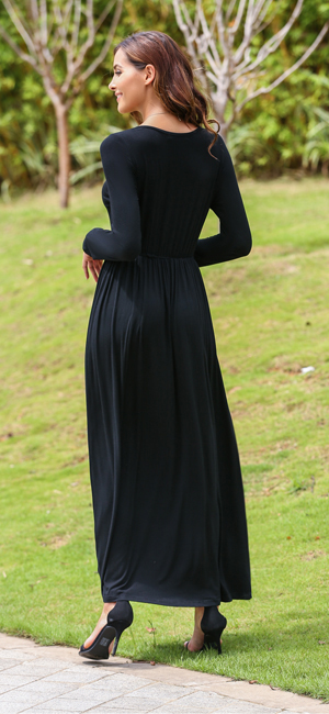 Meaneor Womens 3 4 Sleeve Solid Plus Maxi Long Dress With Elastic